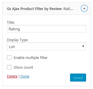 Woocommerce Product Filter Settings